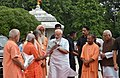 The Prime Minister, Shri Narendra Modi arrives at Gorakhnath Mandir, in Gorakhpur, Uttar Pradesh on July 22, 2016. The Governor of Uttar Pradesh, Shri Ram Naik is also seen.jpg