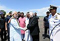 The Prime Minister, Shri Narendra Modi being seen off by the Governor of Kerala, Justice (Retd.) Shri P. Sathasivam and the Chief Minister of Kerala, Shri Pinarayi Vijayan, on his departure from Kochi Airport, Kerala.jpg