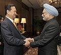 The Prime Minister of Vietnam, Mr. Nguyen Tan Dung being welcomed by the Prime Minister, Dr. Manmohan Singh, at the ASEAN-India Commemorative Summit, 2012, in New Delhi on December 20, 2012.jpg