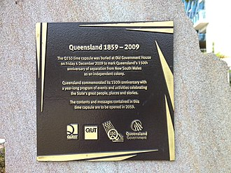 Q150 - Plaque on Q150 time capsule, Old Government House