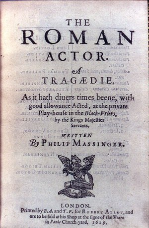 The Roman Actor - Title page of the first printing of The Roman Actor by Philip Massinger (1629).