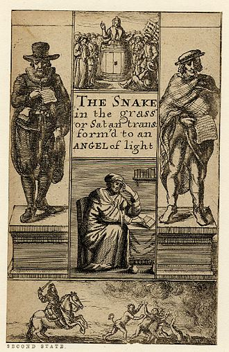 Puritans - The Snake in the Grass or Satan Transform'd to an Angel of Light, title page engraved by Richard Gaywood, ca. 1660