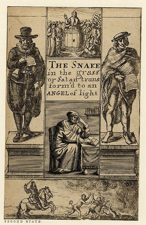 The Snake in the Grass or Satan Transform'd to an Angel of Light, title page engraved by Richard Gaywood, ca. 1660 The Snake in the Grass or Satan Transform'd to an Angel of Light.jpg