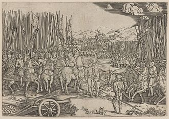 Battle of Ravenna (1512) - The Two Armies at the Battle of Ravenna (1530 woodcut)