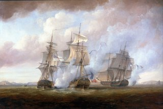 The capture of the Resistance and Constance by HMS San Fiorenzo and Nymphe, 9 March 1797