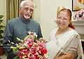 The new Lok Sabha Speaker, Smt. Sumitra Mahajan meeting the Vice President, Shri Mohd. Hamid Ansari, in New Delhi on June 07, 2014.jpg