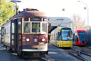 Trams in Adelaide - H type 367, Alstom Citadis 203 and Flexity Classic 104 trams at Glengowrie depot in December 2009