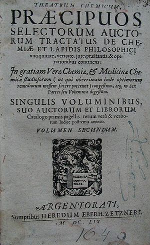 Theatrum Chemicum - Page One of Theatrum Chemicum Volume II.  Originally published 1602, Strasbourg by Lazarus Zetzner.