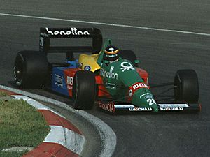 Benetton Formula - Thierry Boutsen driving for Benetton at the 1988 Canadian Grand Prix.