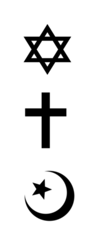 Abrahamic religions - Symbols of the three largest Abrahamic religions: the Jewish Star of David, the Christian cross, and the Islamic star and crescent