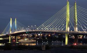 Tilikum Crossing - Light art system on bridge at night