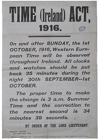 Time in the Republic of Ireland - Time (Ireland) Act 1916