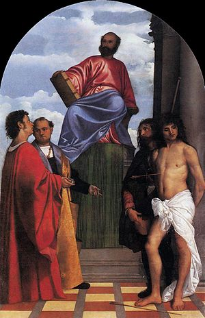 St. Mark Enthroned - Image: Titian St Mark Enthroned with Saints WGA22765