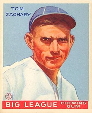 Tom Zachary - 1933 Goudey baseball card of Tom Zachary