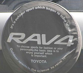 Engrish - An example of the Japanese use of English for aesthetic and marketing purposes on a Toyota car spare wheel.