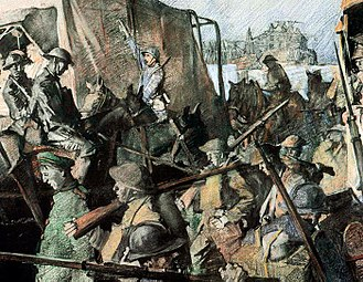 3rd Infantry Division (United States) - 1918 Traffic To Mont-St. Pere by George Matthews Harding AEF unit is the 3rd US Infantry Division.