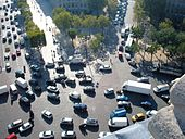 Traffic seen from top of Arc de Triomphe.JPG