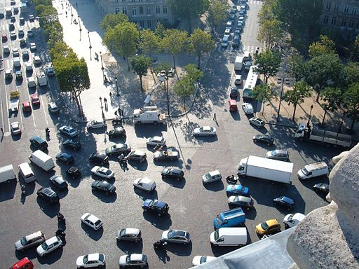 Traffic seen from top of Arc de Triomphe