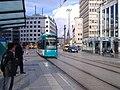 Tram in Frankfurt at banktower.JPG