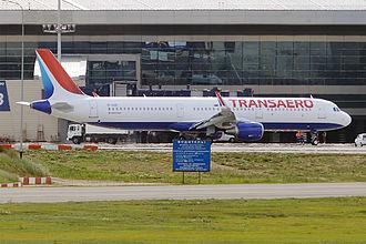 Transaero - Transaero's Airbus A321 in brand-new livery at Vnukovo International Airport.