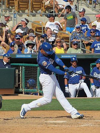 Trayce Thompson - Thompson batting for the Los Angeles Dodgers during spring training in 2016