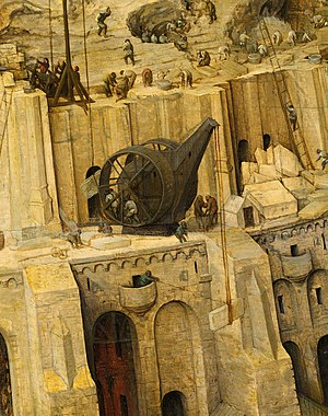 Treadwheel crane - Pieter Bruegel's construction of The Tower of Babel (Bruegel) featuring a double treadwheel crane