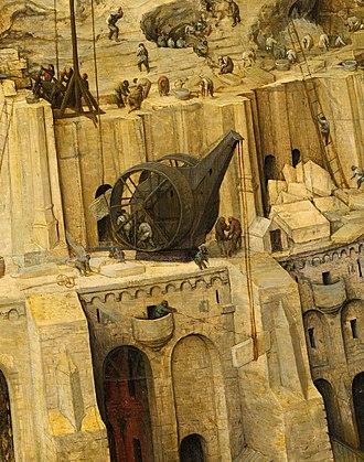 Treadwheel crane - Pieter Bruegel's construction of The Tower of Babel (Bruegel) featuring a double treadwheel crane