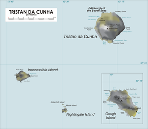 The island of Tristan de Cunha is indicated in the top right section of the map. The smaller Inaccessible Island is shown cente left, and the tiny Nightingale Island is at he bottom centre. An inset in the lowere right quarter shows Gough Island.