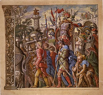 Triumphs of Caesar (Mantegna) - One of a set of coloured chiaroscuro woodcuts with added gouache, among the finest in the technique, by Andrea Andreani, 1598/99