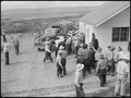 Tule Lake Relocation Center, Newell, California. A view in the lunch shed at the farm. Trucks from . . . - NARA - 538326.tif