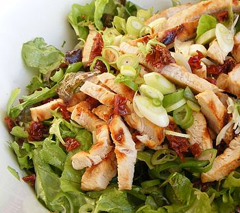 Salad, turkey, sundried tomatoes, spring onion...