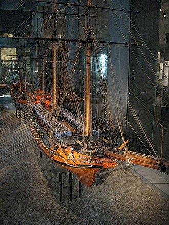 Archipelago fleet - Contemporary model of the turuma Lodbrok (built in 1771) at the Maritime Museum in Stockholm. The turuma were the core of the archipelago fleet during the war of 1788-90 and were the largest vessels in the inshore squadrons.