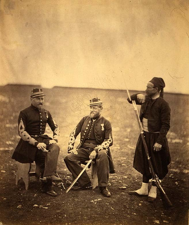 Two French Zouaves officers and one private in 1855