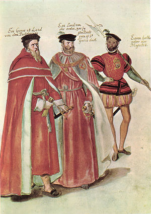 Lucas de Heere - Two English peers, one in Parliamentary robes and one in the robes of the Order of the Garter with a halberdier in the livery of Elizabeth I, by Lucas de Heere, 1567