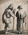 Two beggars dressed in ragged clothing, one with a large sti Wellcome V0039987.jpg