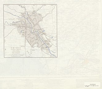 Map of Tianjin (labeled as T'IEN-CHING (TIENTSIN)) and vicinity (AMS, 1955) Txu-oclc-10552568-nj50-3-back.jpg