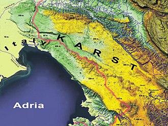 Karst Plateau (Italy-Slovenia) - Approximate extent of the Karst region