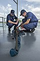 U.S. Coast Guard Chief Warrant Officer 2 Nate Wilber, left, and Damage Controlman 2nd Class Isaac Stenback work on an M2HB .50-caliber machine gun aboard the Dominican Republic patrol boat GC-109 Orion 130521-N-KL795-077.jpg