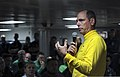 U.S. Navy Vice Adm. David H. Buss, the commander of Naval Air Forces, addresses chief petty officers in the chief's mess aboard the aircraft carrier USS Carl Vinson (CVN 70) May 8, 2013, in the Pacific 130508-N-GZ277-327.jpg
