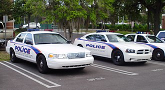 Campus police - Rather than traditional police colors, cruisers at some institutions sport the livery colors of the university they serve.