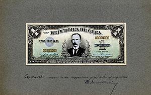 Silver certificate (Cuba) - Image: US BEP República de Cuba (progress proof) one silver peso, 1934 (CUB 69a)
