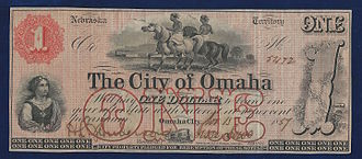 Omaha, Nebraska - Nebraska Territory, $1 City of Omaha 1857 uniface banknote. The note is signed by Jesse Lowe, in his function as first Mayor of Omaha City. It was issued as scrip in 1857 to help fund the erection of the Territorial capitol building.