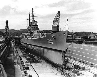 Baltimore-class cruiser - USS Bremerton in drydock