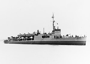 USS Clemson (DD-186) - Clemson (APD-31) in Charleston Navy Yard, April 21, 1944. The circles indicate recent altercations.