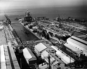 USS Enterprise (CVN-65) - Enterprise is christened at Newport News shipyard in 1960.