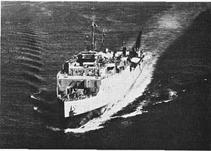 "USS Fort Marion (LSD-22) underway, date and place unknown. US Navy photo from ""All Hands"" magazine November 1958"