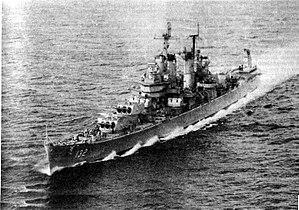 USS Macon (CA-132) - Image: USS Macon (CA 132) underway at sea, circa 1960