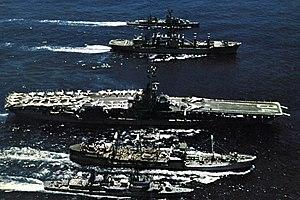 USS Wiltsie (DD-716) - Image: USS Oriskany (CVA 34) and destroyers being replenished off Vietnam 1969