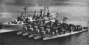 USS Prairie (AD-15) - Prairie tied up with USS Ross (DD-563) and other destroyers in the 1950s.