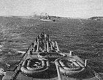 USS Wichita (CA-45) and USS Washington (BB-56) steam out of Casco Bay, 26 March 1942.jpg